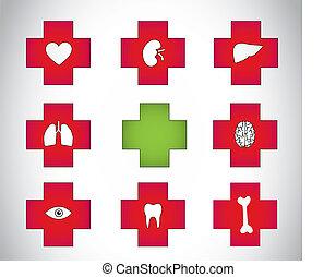 medyczna symbolika, zielony, plus, czerwony, ikona