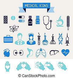 medyczne i zdrowie, troska, ikony, set.
