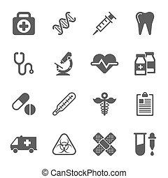 medyczne ikony, na białym, tło., wektor