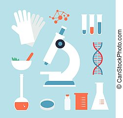 medyczny, desktop, laboratorium, ilustracja