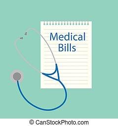 medyczny, dzioby, pisemny, notatnik