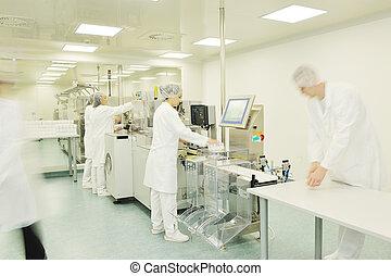 medyczny, fabryka, i, produkcja, domowy