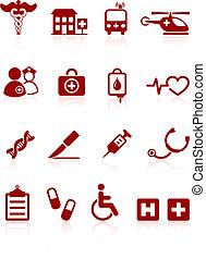medyczny, internet, szpital, zbiór, ikona