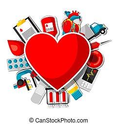 medyczny, items., darowizna, obiekty, zdrowie, krew, tło, rzeźnik, troska