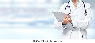 medyczny, kobieta, hands., doktor