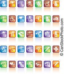 medyczny, komplet, odbicie, ikona