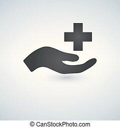 medyczny, krzyż, ręka, wektor, troska, ikona