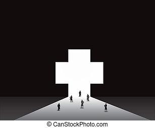 medyczny, mężczyźni, plus, handlowe kobiety