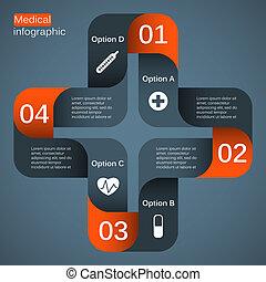 medyczny, nowoczesny, projekt, wektor, szablon, twój