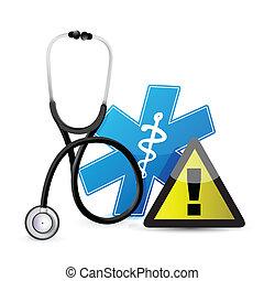 medyczny, ostrzeżenie, stetoskop