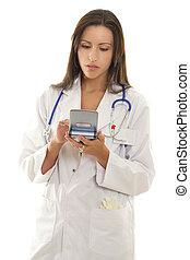 medyczny practitioner, używając, niejaki, przenośny, urządzenie, z, medyczny, software.