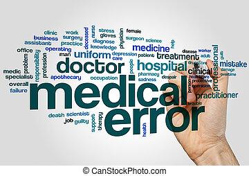 medyczny, słowo, chmura, błąd