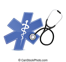 medyczny, stetoskop, symbol