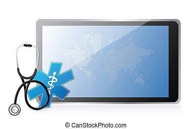 medyczny, stetoskop, tabliczka