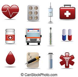 medyczny, szpital, błyszczący, s, ikony