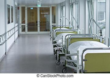 medyczny, szpitalniany korytarz, pokój