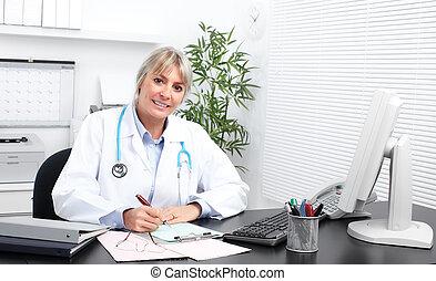 medyczny, woman., dojrzały doktor