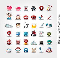medyczny, zbiór, szpital, ikony