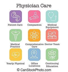 medyczny, zdrowie, lekarz, etc, ikona, komplet, troska, ...