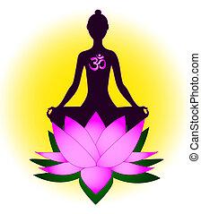 medytacja, kobieta, om symbol