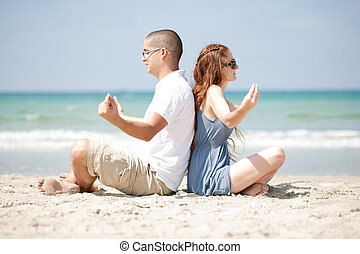medytacja, plaża