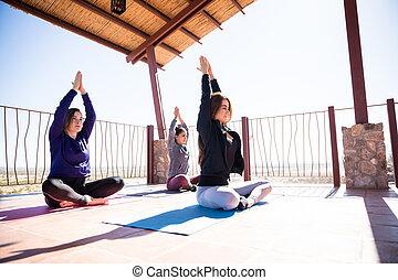 medytacja, poza, yoga klasa, odpoczynek