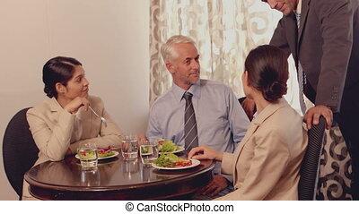 mee, déjeuner, avoir, professionnels