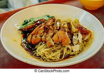 mee, pâle, gagné, cuisine chinoise, poulet, tonne, séché, rôti, bronzage, nouilles, barbecue