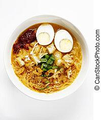 mee siam -  breakfast bowl of malay mee siam