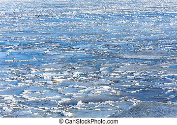 meedrijven, lente, zonnig, ijs, day., achtergrond, rivier, texture.