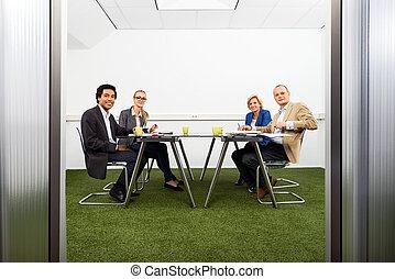 meeing, en, un, sostenible, sala de conferencias