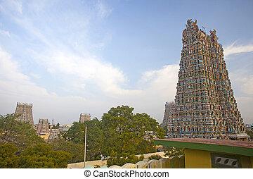 Meenakshi hindu temple in Madurai, Tamil Nadu, South India. Sculptures on Hindu temple gopura (tower).