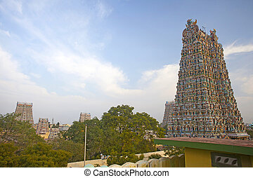 Meenakshi hindu temple in Madurai, Tamil Nadu, South India. Sculptures on Hindu temple gopura (tower).