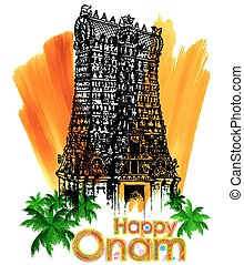Meenakshi temple in Onam celebration background -...