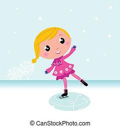 meer, bevroren, schattig, winter:, kind, het schaatsen van het ijs