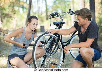 meer, fiets, pompen, vermoeien, lucht