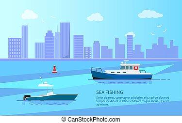 meer, fischerei, auf, motorboote, bei, langer, küste- linie