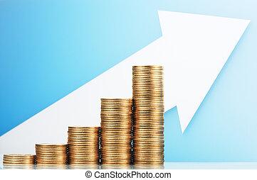 meer, geld., groeiende, besparing, muntjes, stapel, het verdienen, arrow.