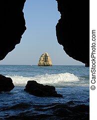 meer, grotte