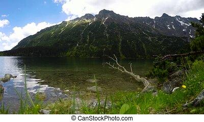 meer, in, bergen, landscape, timelapse