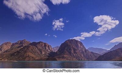 meer, in, de, bergen., blurred., panorama., iskander, kul., timelapse