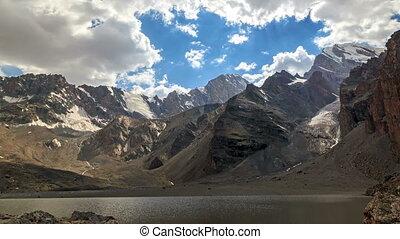 meer, in, de, bergen., timelapse., pamir, tajikistan