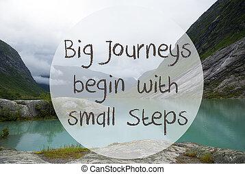 meer, met, bergen, noorwegen, noteren, groot, reizen, beginnen, kleine, stappen