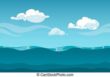 meer, oder, wasserlandschaft, karikatur, landschaftsbild, mit, himmelsgewölbe, und, clouds., seamless, wasser, wellen, hintergrund, für, computerspiel, design
