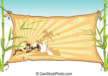meer, sandstrand, auf, banner