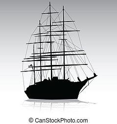 meer, segeln, silhouette, vektor