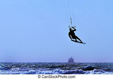 meer, sport, -kiteboarding