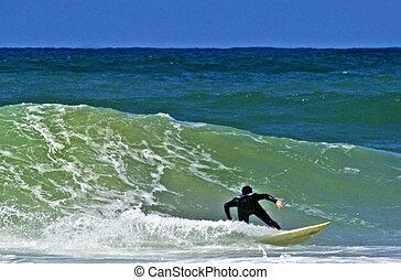 meer, sport, -, welle, surfen