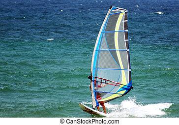 meer, sport, -, windsurfing