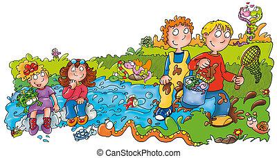 meer, visserij, kinderen